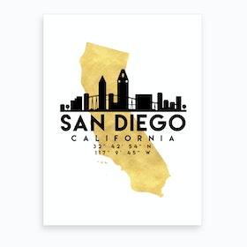 San Diego California Silhouette City Skyline Map Art Print