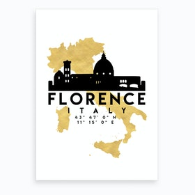 Florence Italy Silhouette City Skyline Map