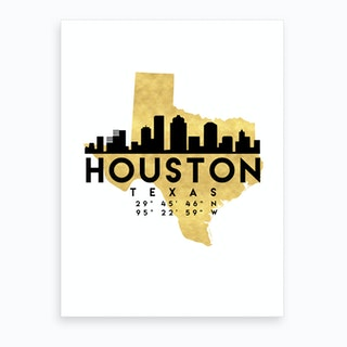 Houston Texas Silhouette City Skyline Map Art Print