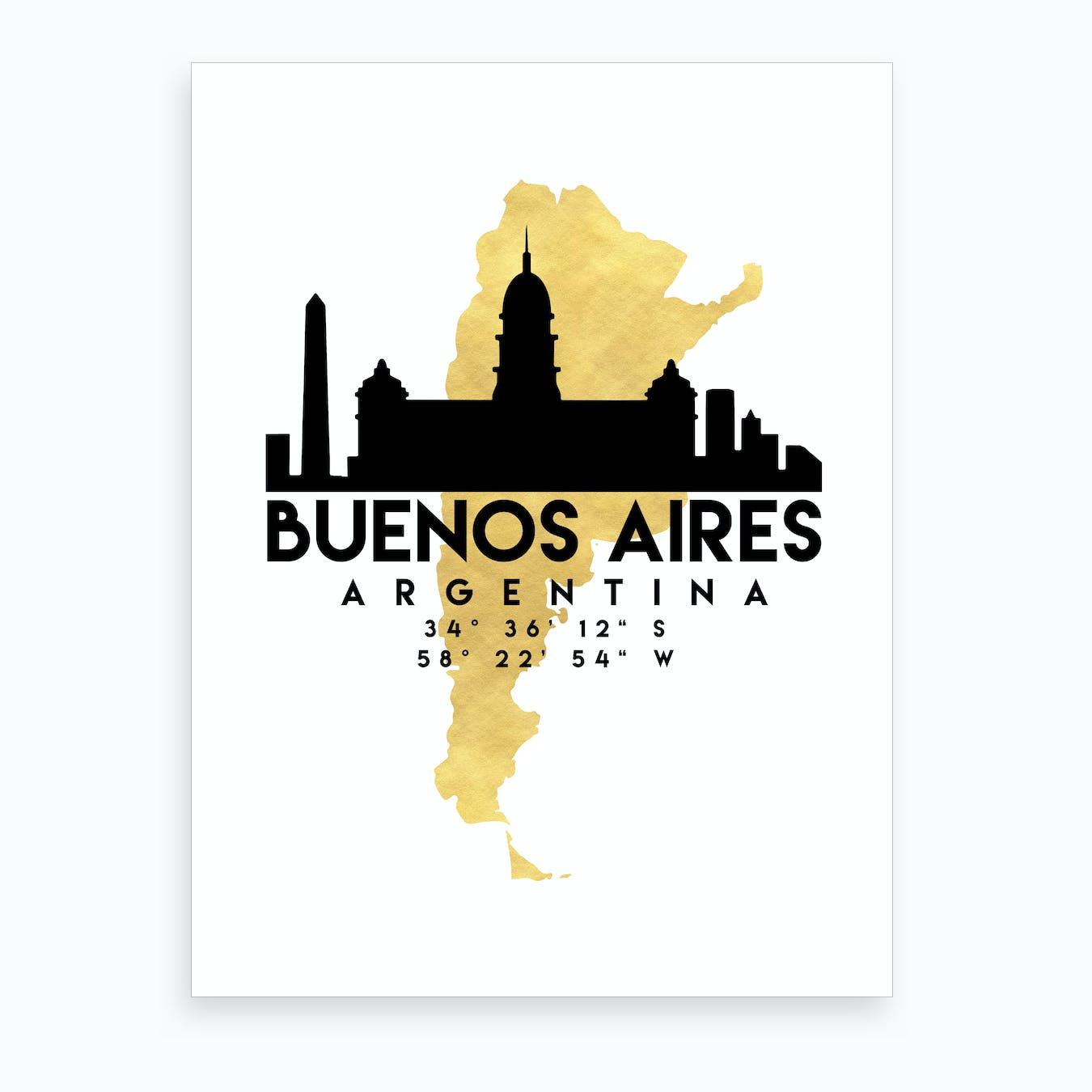Buenos Aires Silhouette City Skyline Map