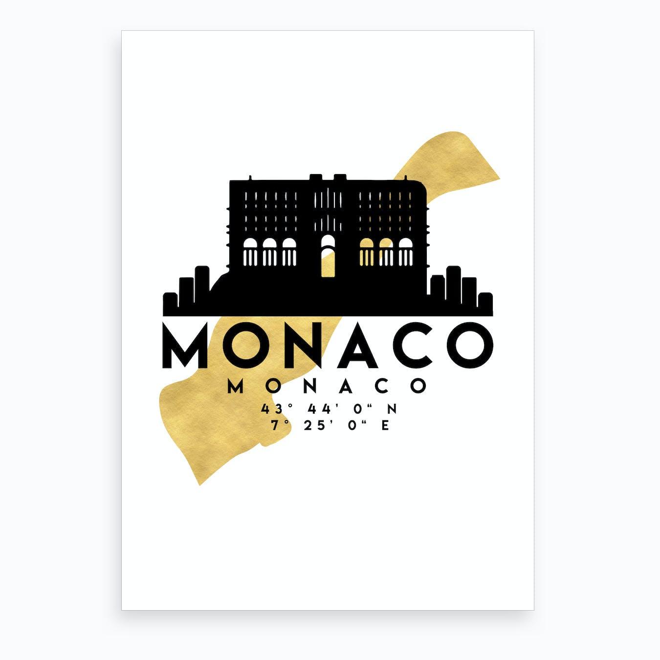 Monaco Silhouette City Skyline Map Art Print