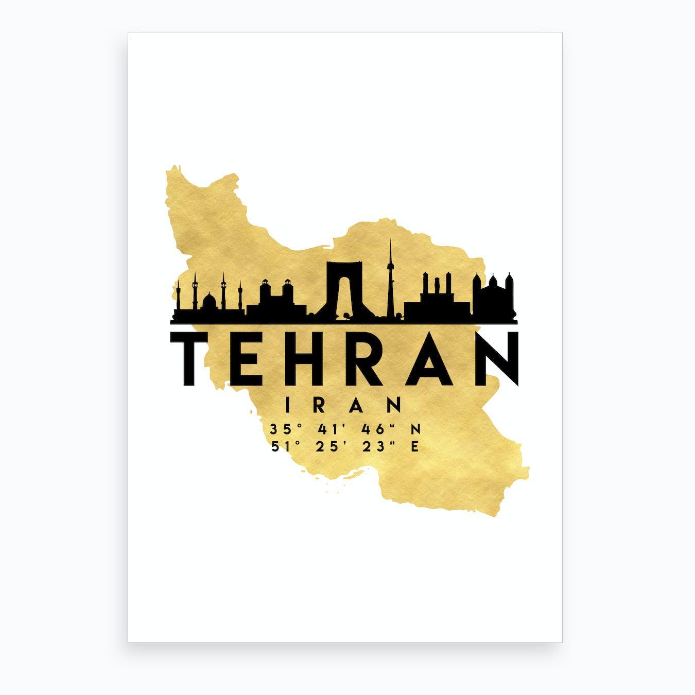 Tehran Iran Silhouette City Skyline Map