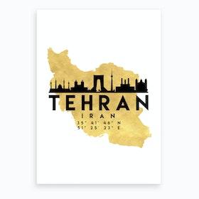 Tehran Iran Silhouette City Skyline Map Art Print
