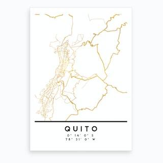 Quito Ecuador City Street Map Art Print