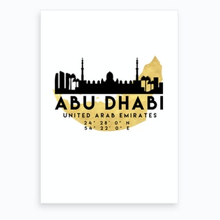 Abu Dhabi UAE Silhouette City Skyline Map Art Print
