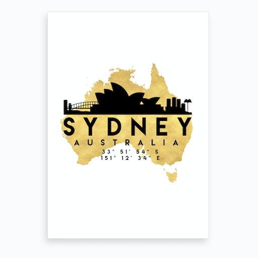 Sydney Australia Silhouette City Skyline Map