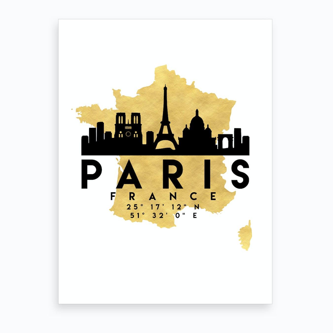 Paris France Silhouette City Skyline Map
