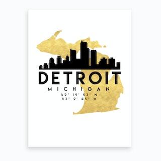 Detroit Michigan Silhouette City Skyline Map Art Print