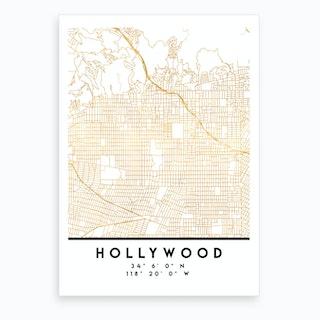 Hollywood California City Street Map Art Print
