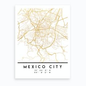 Mexico City City Street Map Art Print