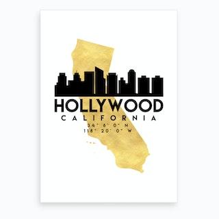 Hollywood California Silhouette City Skyline Map Art Print
