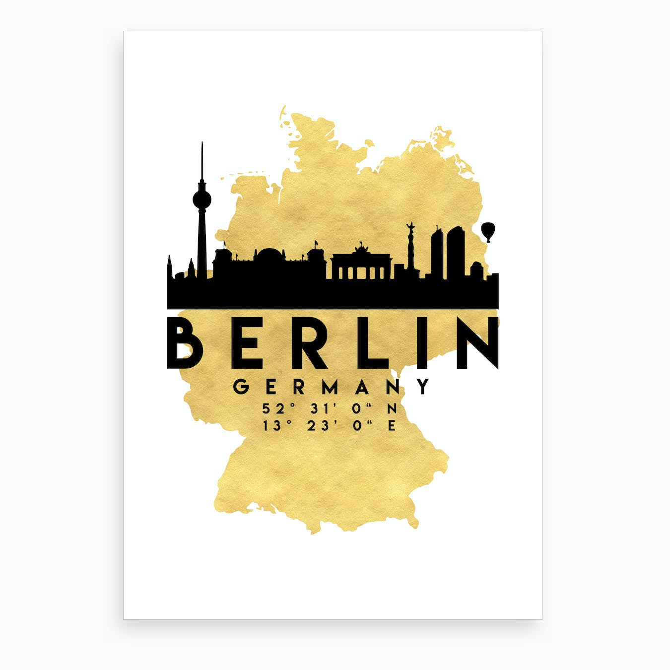 Berlin Germany Silhouette City Skyline Map