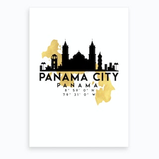 Panama City Silhouette City Skyline Map Art Print