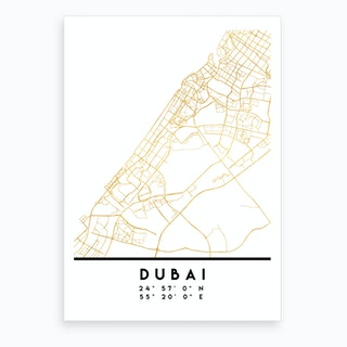 Dubai UAE City Street Map Art Print