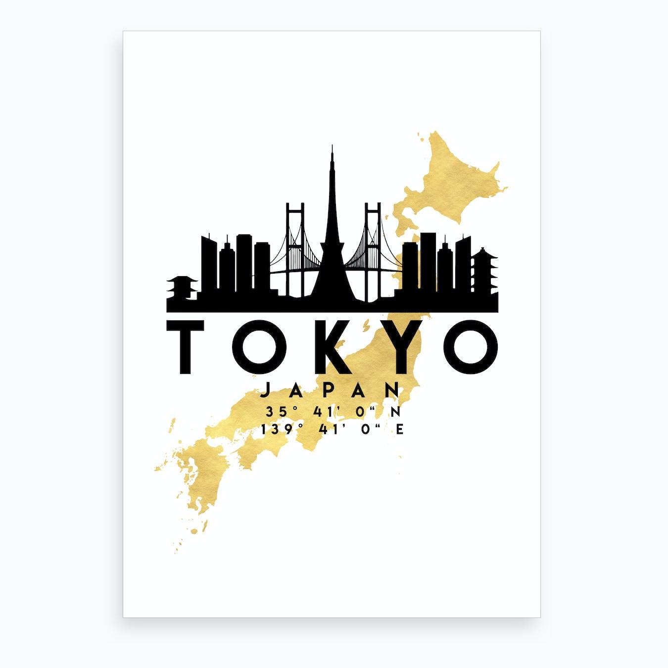 Tokyo Japan Silhouette City Skyline Map