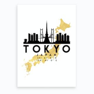 Tokyo Japan Silhouette City Skyline Map Art Print