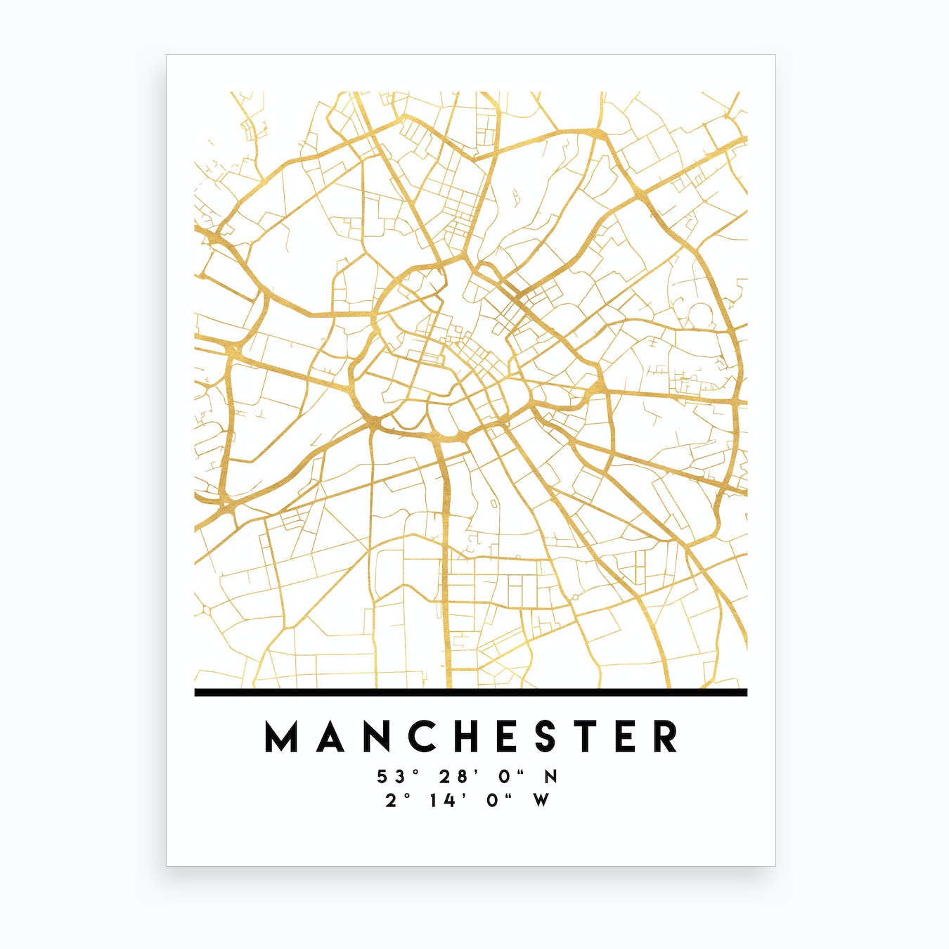 Manchester England City Street Map Art Print
