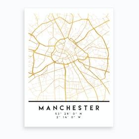 Manchester England City Street Map Art Print