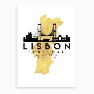 Lisbon Portugal Silhouette City Skyline Map Art Print