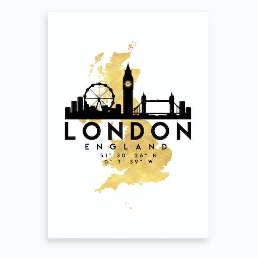 London England Silhouette City Skyline Map