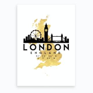 London England Silhouette City Skyline Map Art Print