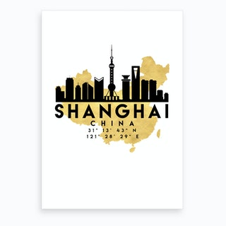 Shanghai China Silhouette City Skyline Map Art Print
