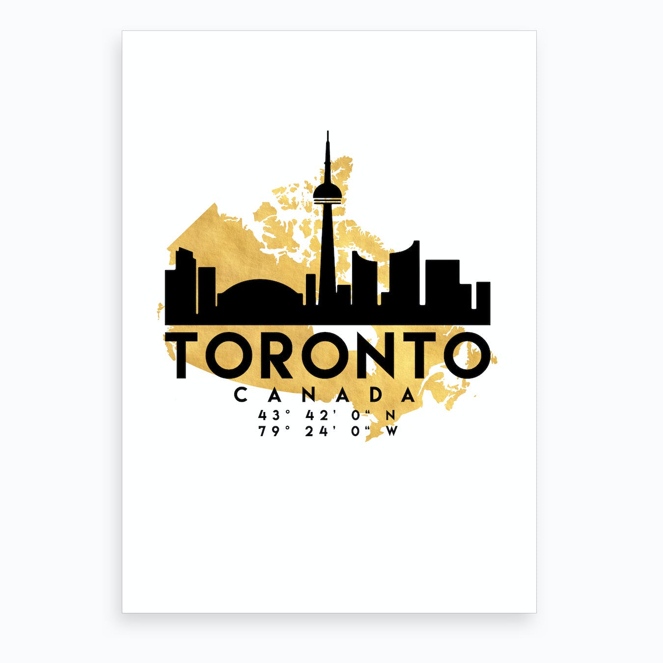 Toronto Canada Silhouette City Skyline Map