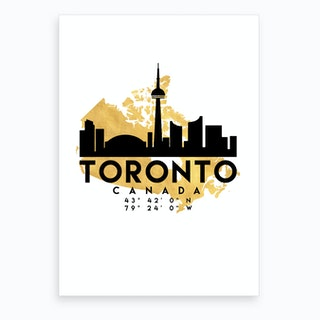 Toronto Canada Silhouette City Skyline Map Art Print