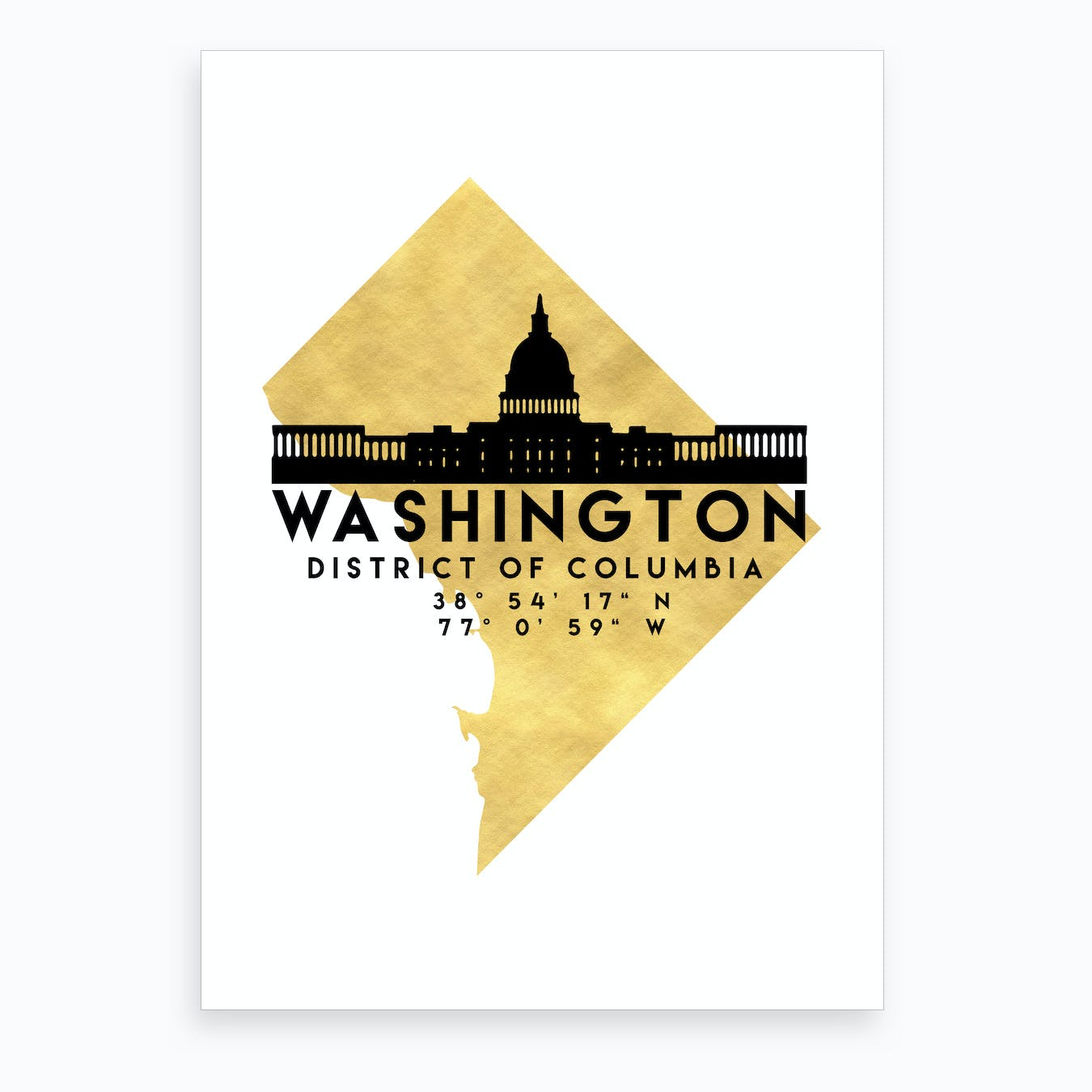 Washington District of Columbia Silhouette City Skyline Map