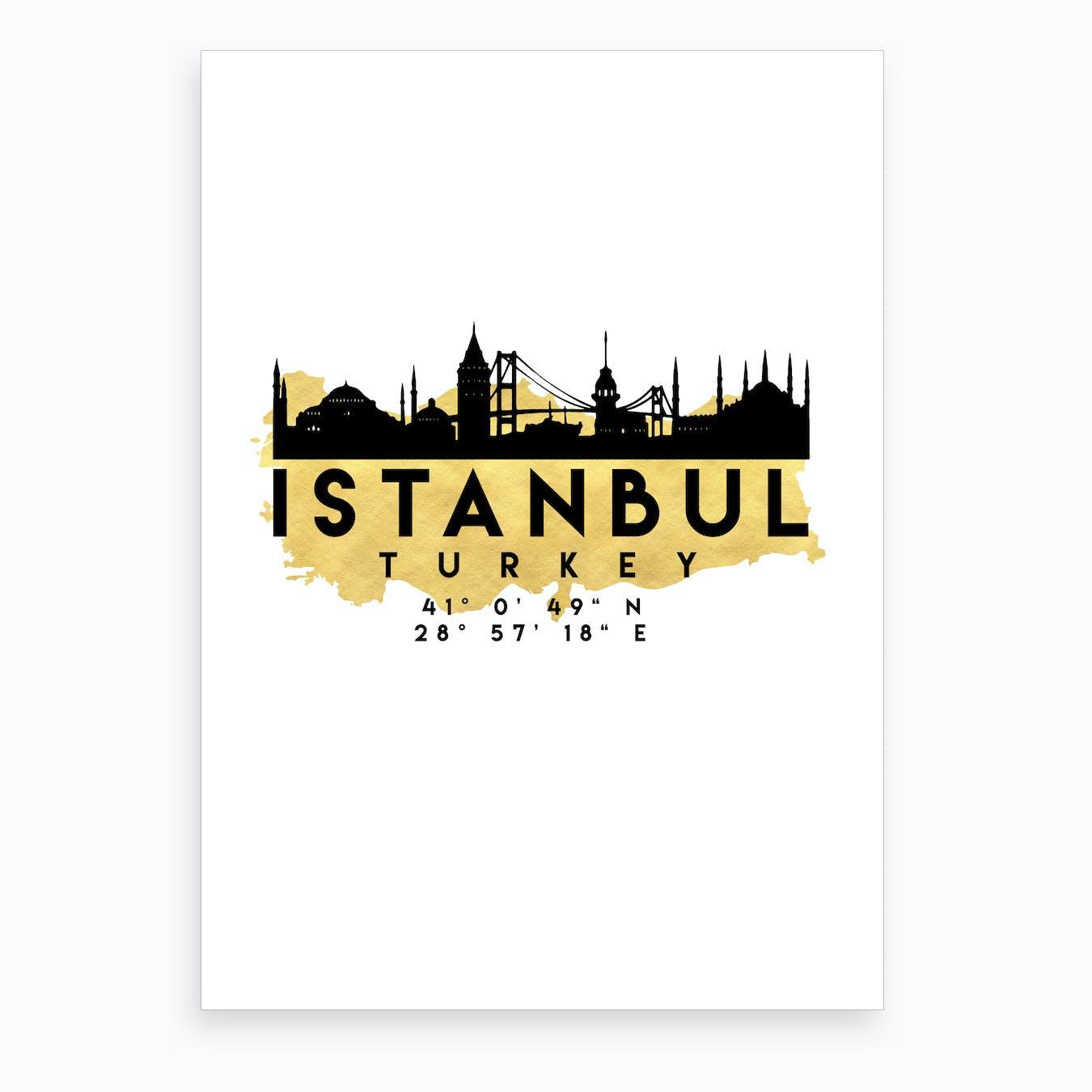 Istanbul Turkey Silhouette City Skyline Map Art Print