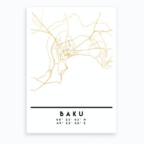 Baku Azerbaijan City Street Map Art Print