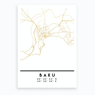 Baku Azerbaijan City Street Map Art Print