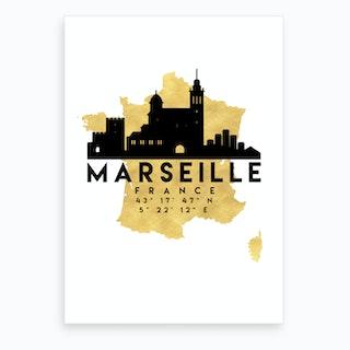 Marseille France Silhouette City Skyline Map Art Print