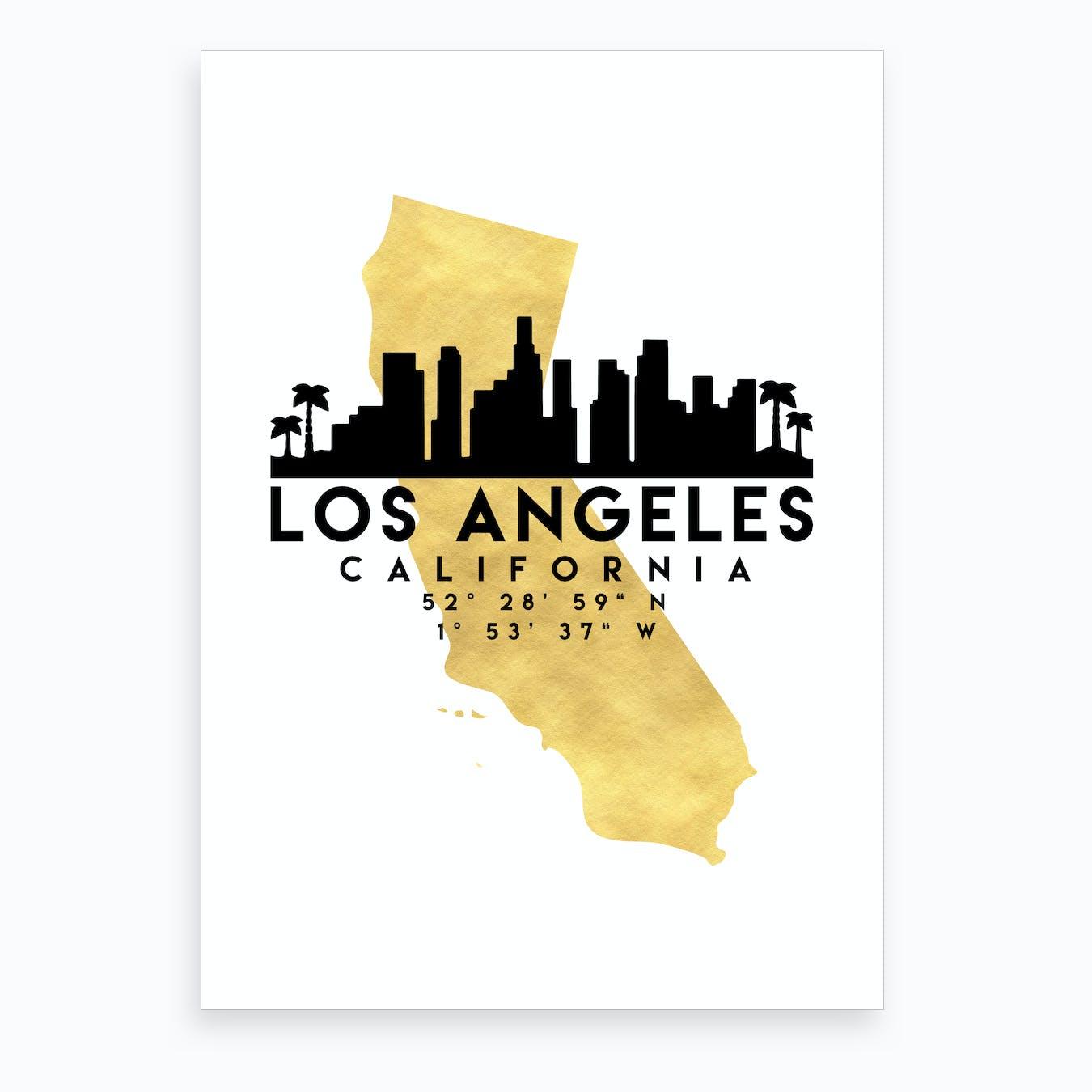 Los Angeles California Silhouette City Skyline Map