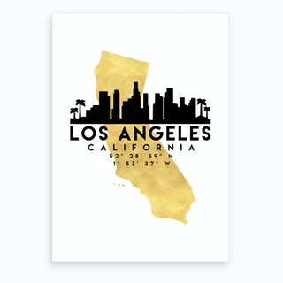 Los Angeles California Silhouette City Skyline Map Art Print