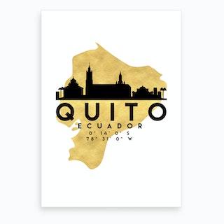 Quito Ecuador Silhouette City Skyline Map Art Print