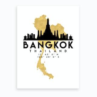Bangkok Thailand Silhouette City Skyline Map Art Print