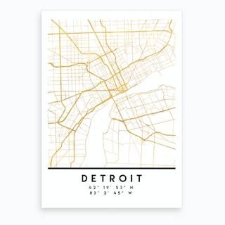 Detroit Michigan City Street Map Art Print