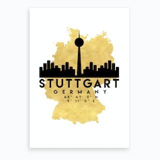 Stuttgart Germany Silhouette City Skyline Map Art Print