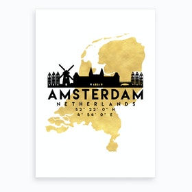Amsterdam Netherlands Silhouette City Skyline Map