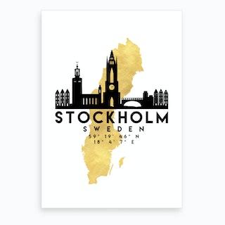 Stockholm Sweden Silhouette City Skyline Map Art Print