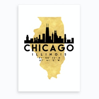 Chicago Illinois Silhouette City Skyline Map Art Print