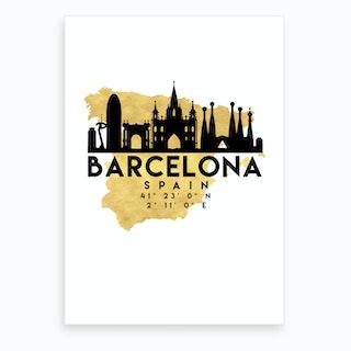 Barcelona Spain Silhouette City Skyline Map Art Print