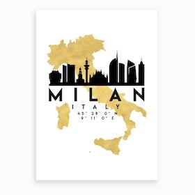 Milan Italy Silhouette City Skyline Map Art Print
