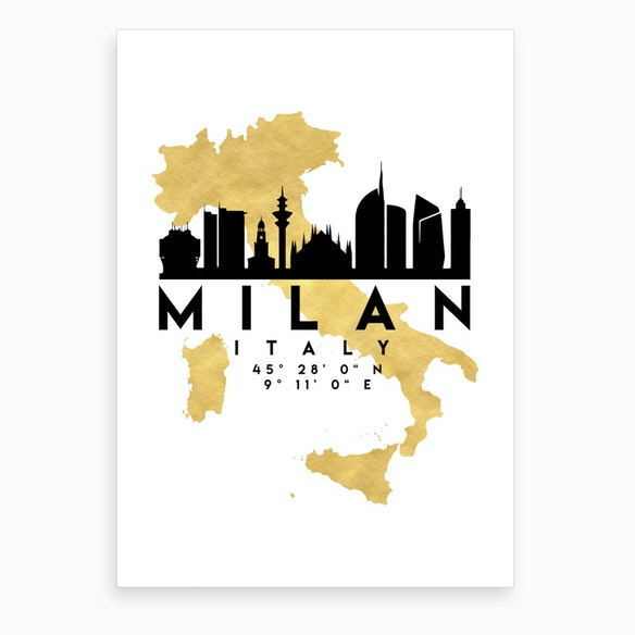 Milan Italy Silhouette City Skyline Map by deificus - Fy
