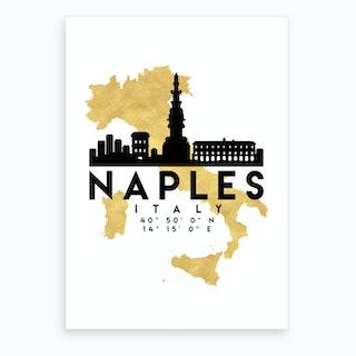 Naples Italys Silhouette City Skyline Map Art Print