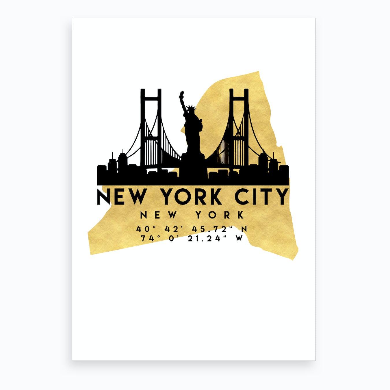 New York Silhouette City Skyline Map