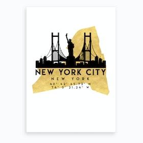 New York Silhouette City Skyline Map Art Print