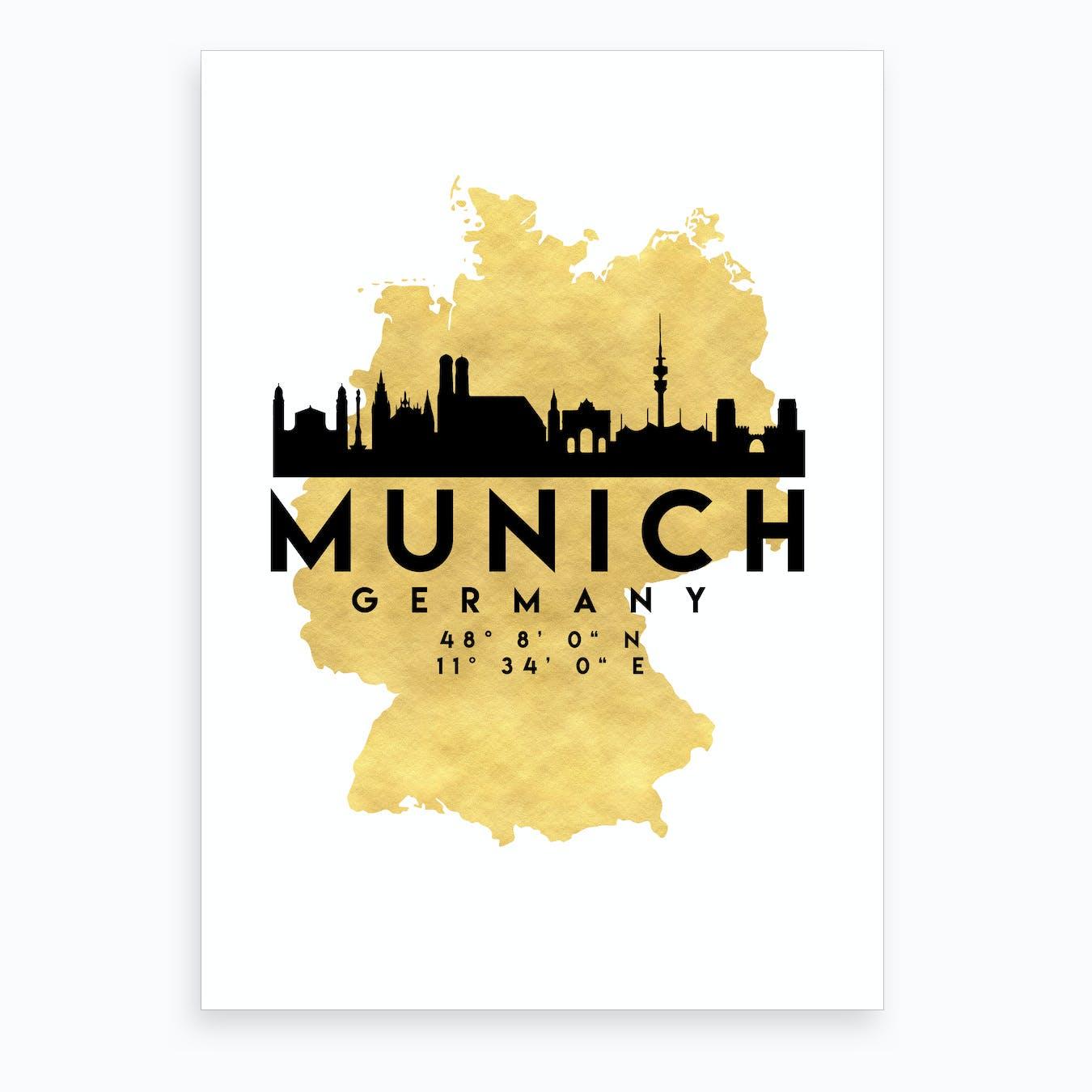 Munich Germany Silhouette City Skyline Map
