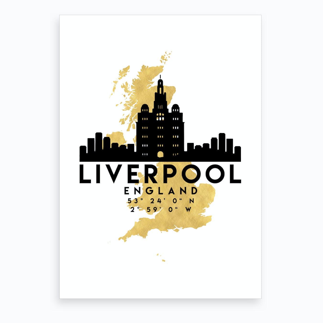 Liverpool England Silhouette City Skyline Map